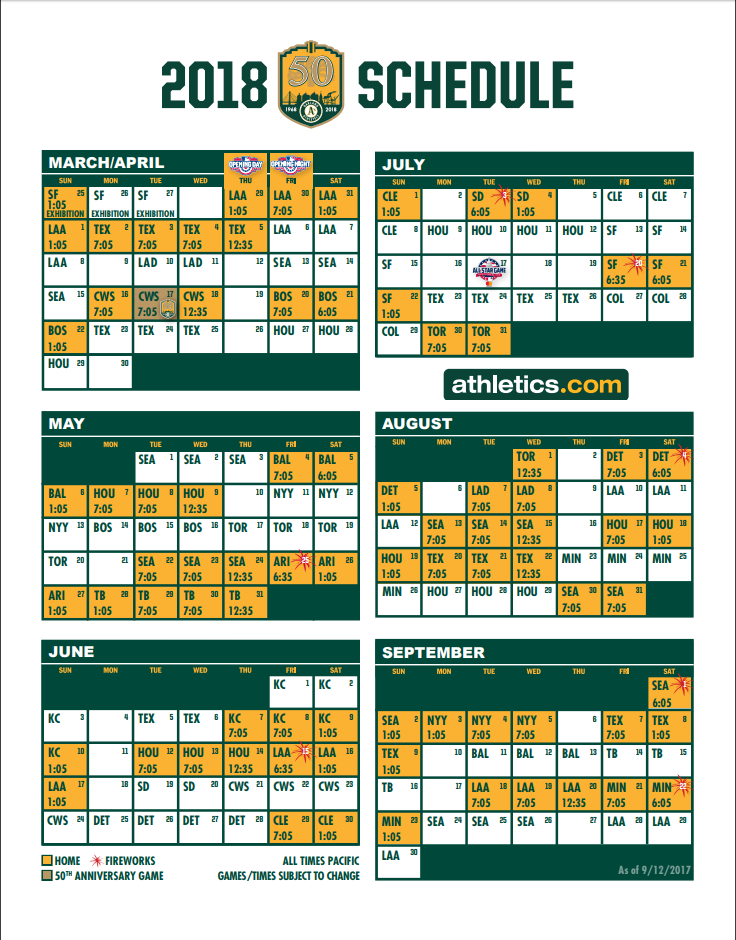 Oakland A's 2018 schedule